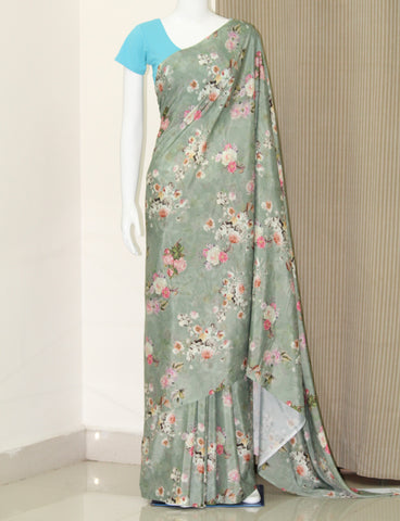 Digital floral printed crepe saree