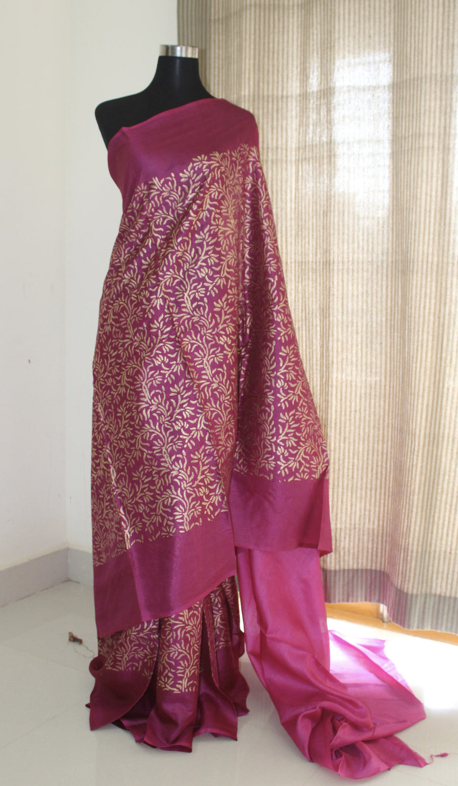 Golden printed pure tussar silk saree