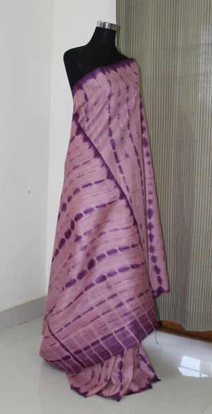 Shibori tie and dye dyed pure geecha silk saree with blouse