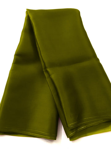 Pure silk satin organza green saree (50 grams per metre)