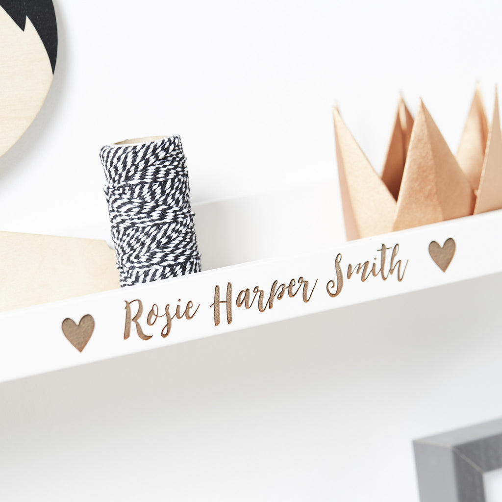 Personalised New Baby Heart Shelf