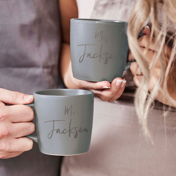 Personalised Stoneware Wedding Mug Set