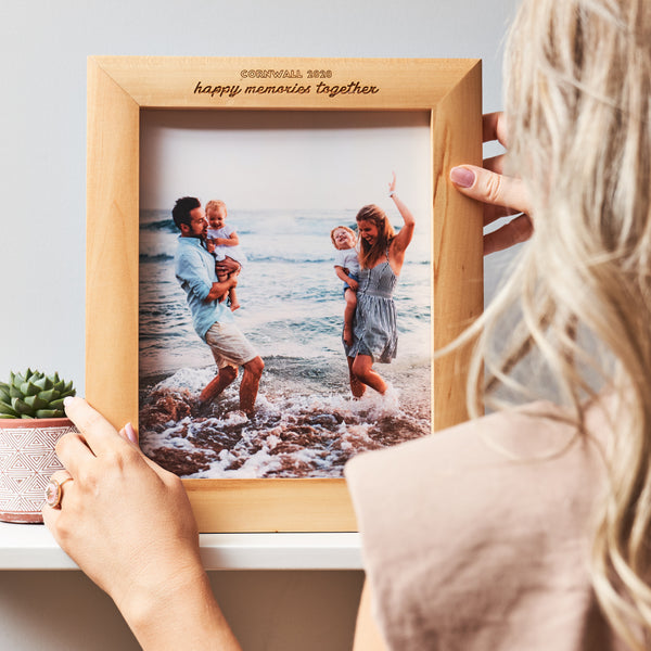 Engraved Wooden Photo Frame And Printed Photo