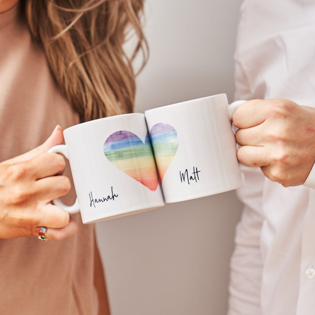 Personalised Rainbow Heart Mug Set
