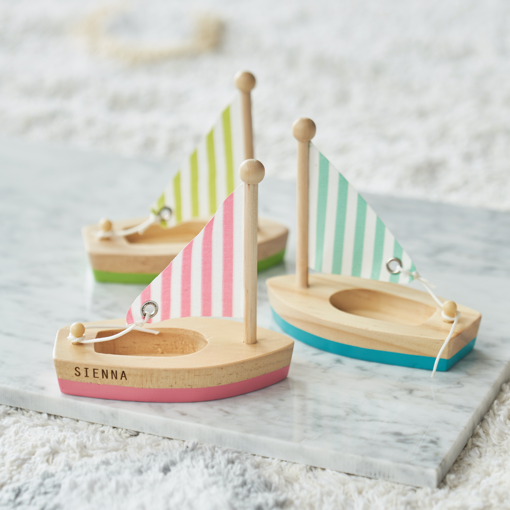Personalised Set Of Three Wooden Sail Boats