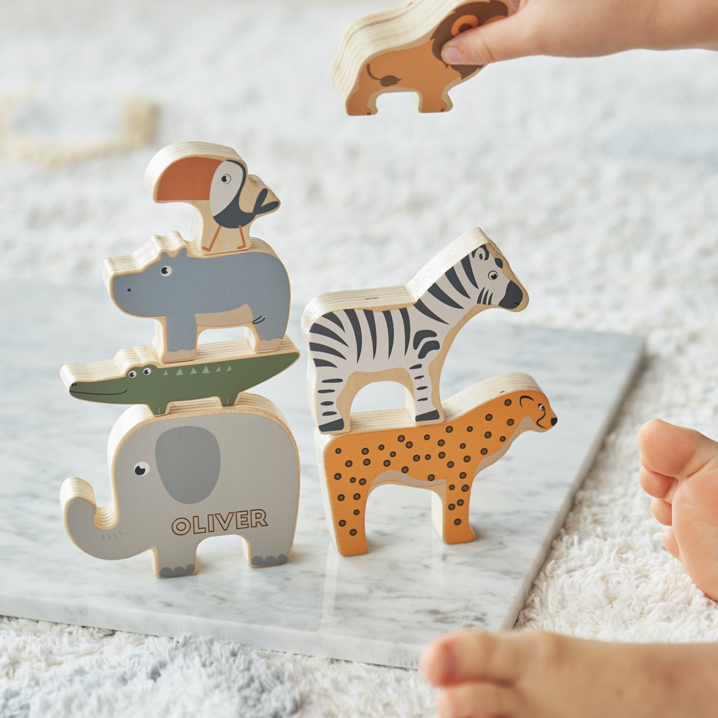 Personalised Set Of Wooden Stacking Animals