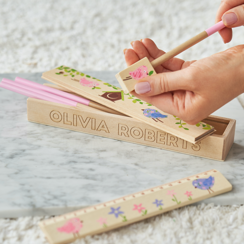 Personalised Children's Wooden Pencil Case Set