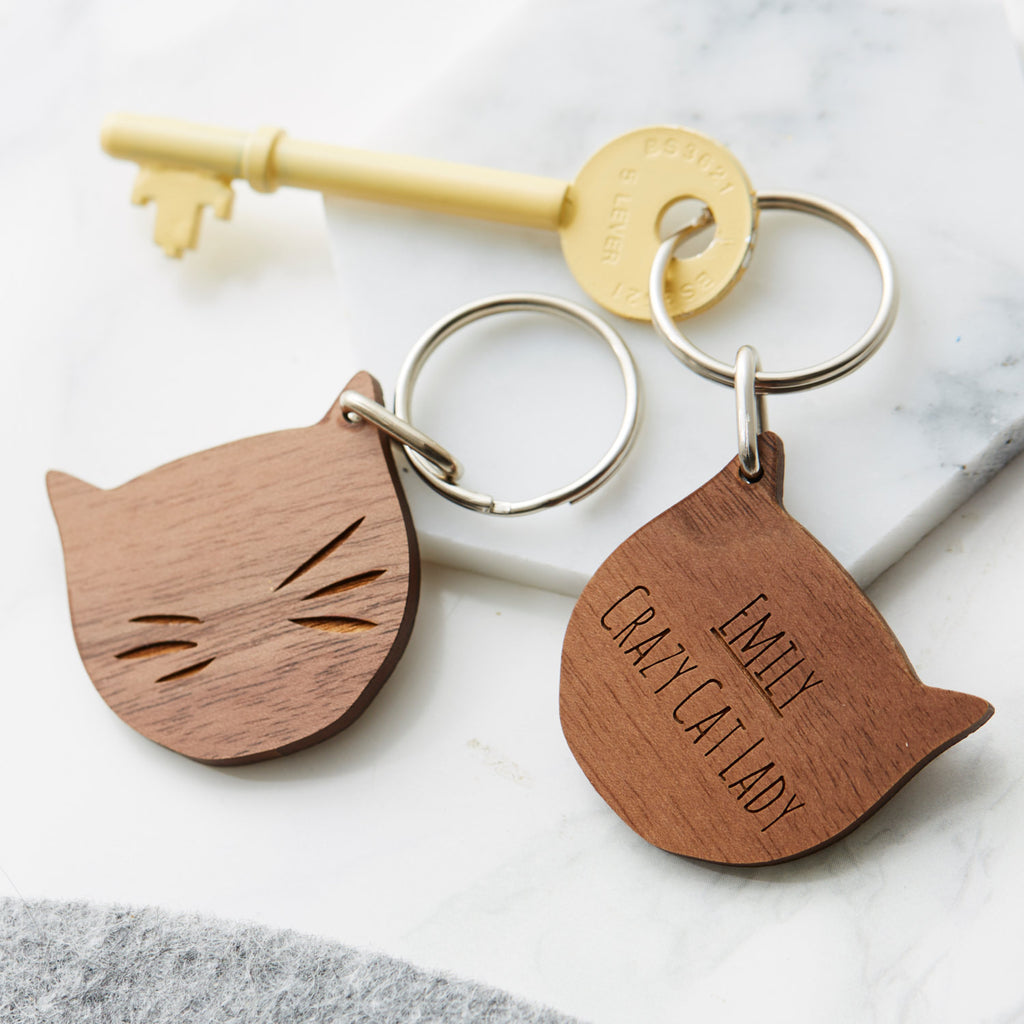 Personalised Cat Lady Keyring