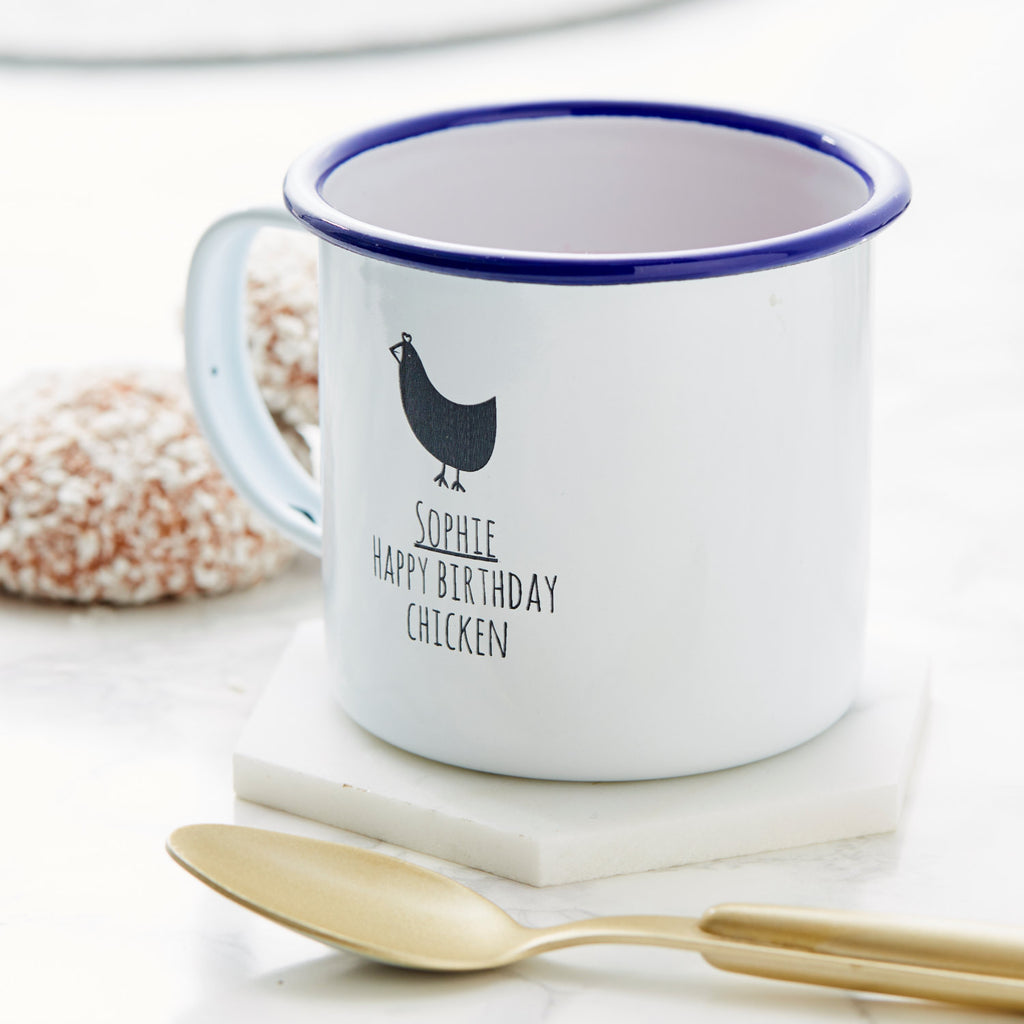 Personalised Chicken Enamel Mug