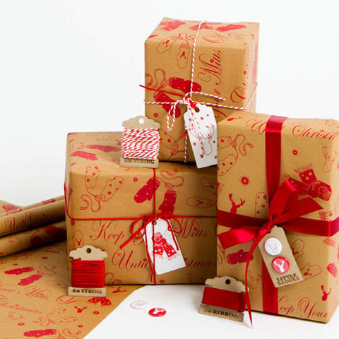 'Mitts Off' Brown Christmas Wrapping Paper