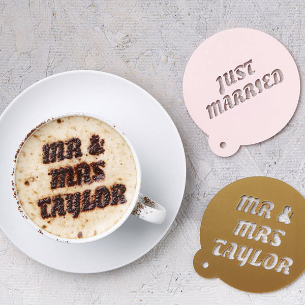 Personalised Wedding Gift Coffee Stencil