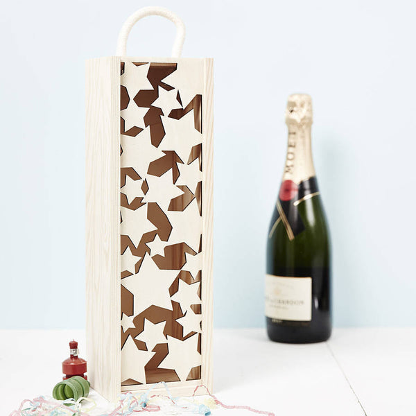 Lasercut Stars Wooden Bottle Box