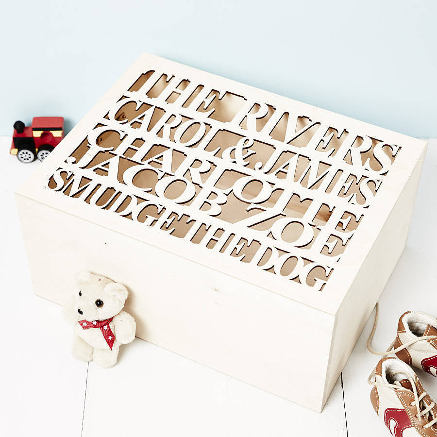 Personalised Large Wooden Family Keepsake Box