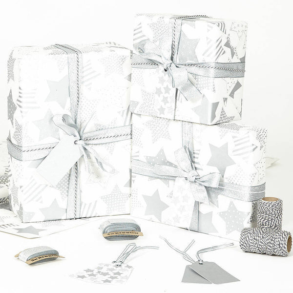 Silver Stars White Christmas Wrapping Paper