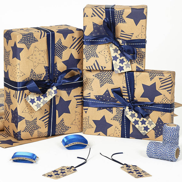 Recycled Blue Star Brown Wrapping Paper
