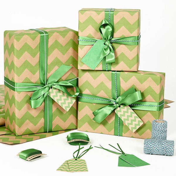 Recycled Green Chevron White Wrapping Paper