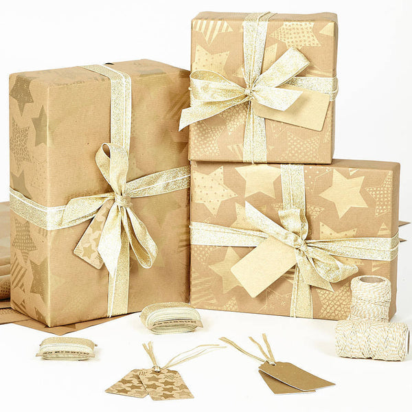 Gold Stars Brown Wrapping Paper