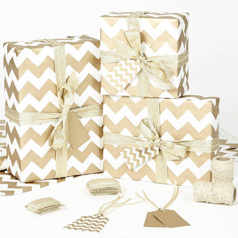 Gold Chevron White Wrapping Paper