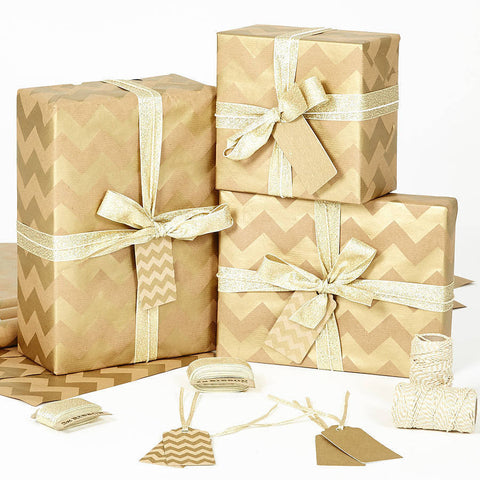 Gold Chevron Brown Wrapping Paper