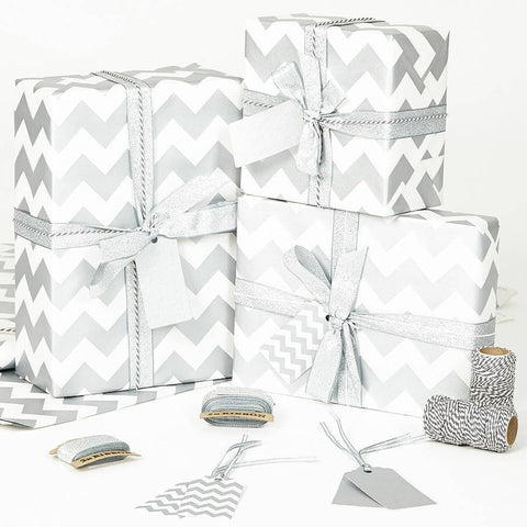 Silver Chevron White Wrapping Paper