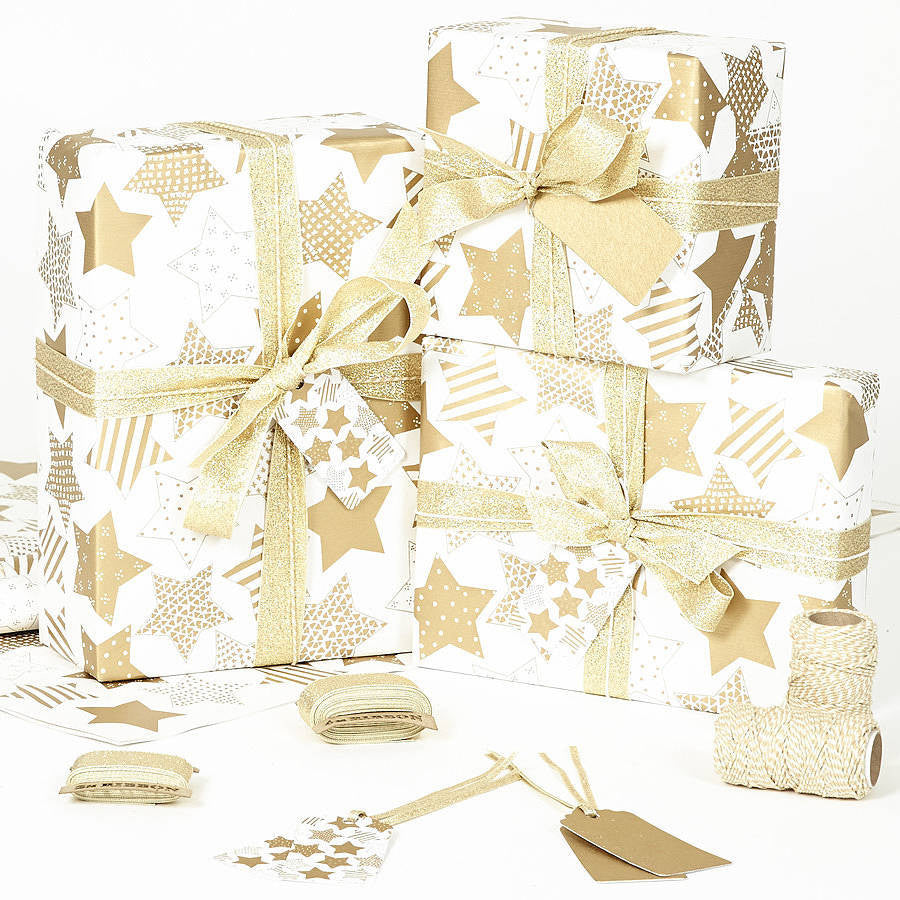 Gold Stars White Wrapping Paper