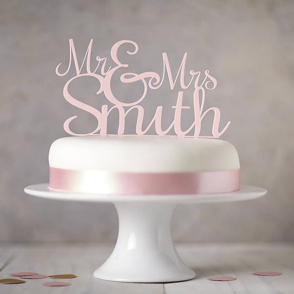 Personalised Mr And Mrs Wedding Cake Topper