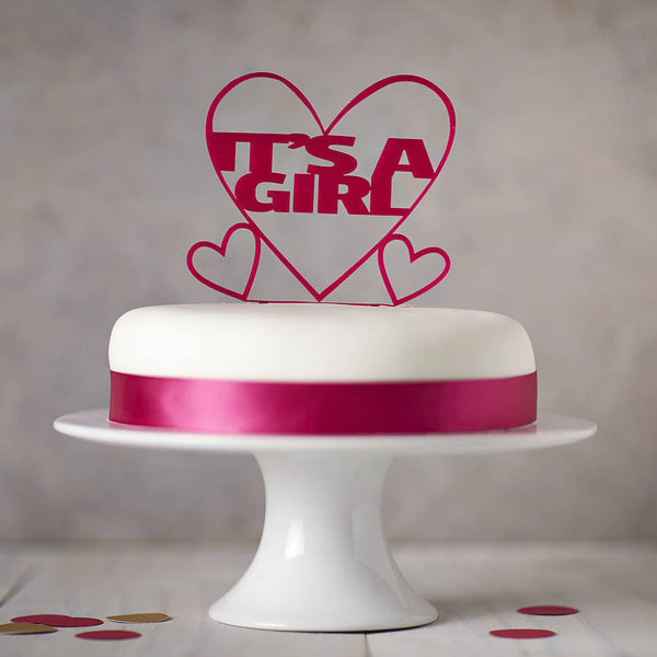 It's A Girl! Gender Reveal Cake Topper