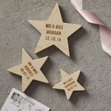 Personalised Wedding Keepsake Wooden Star