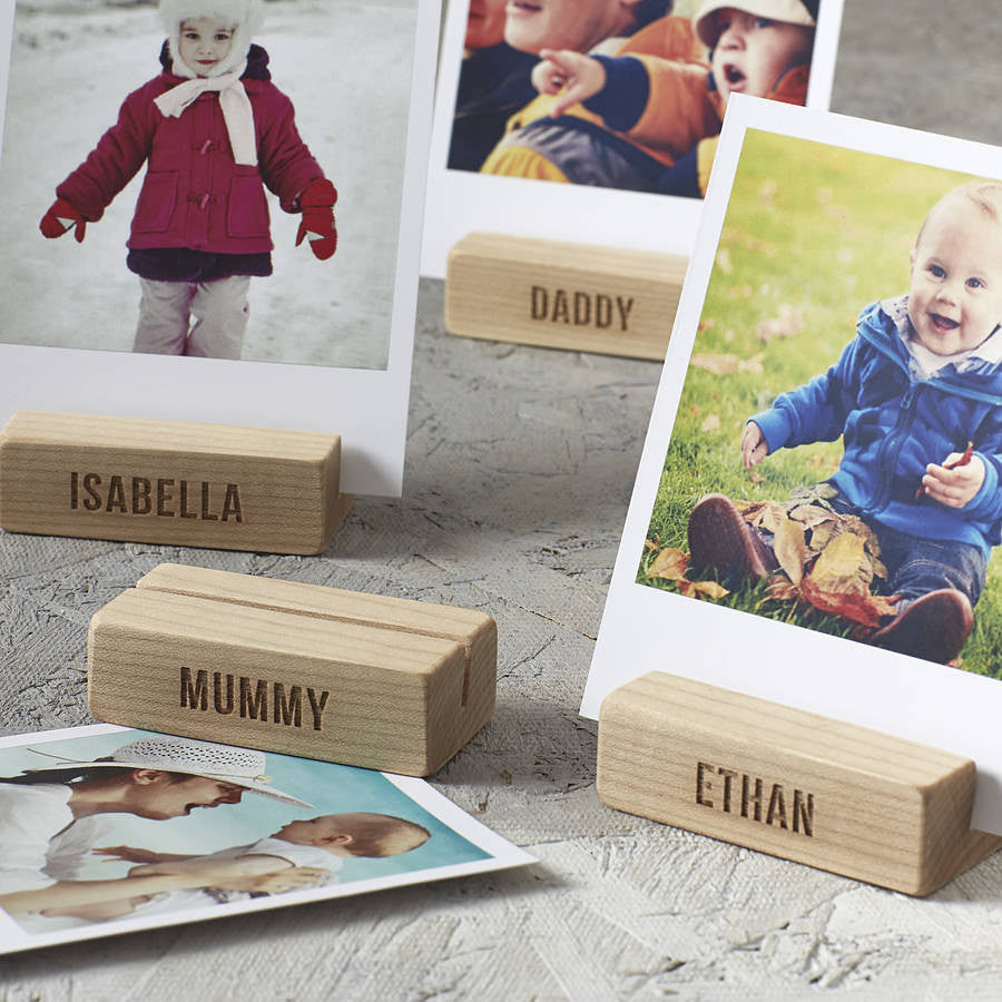 Personalised Family Tree Wooden Photo Blocks