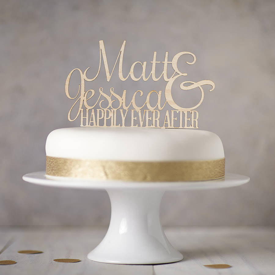 Personalised Wooden Ever After Cake Topper
