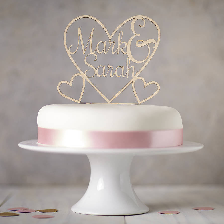 Personalised Wooden Heart Cake Topper