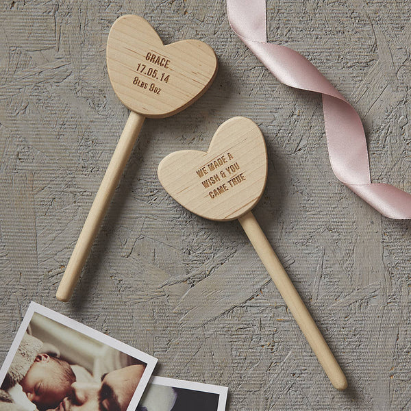 Personalised Baby Keepsake Heart Wand