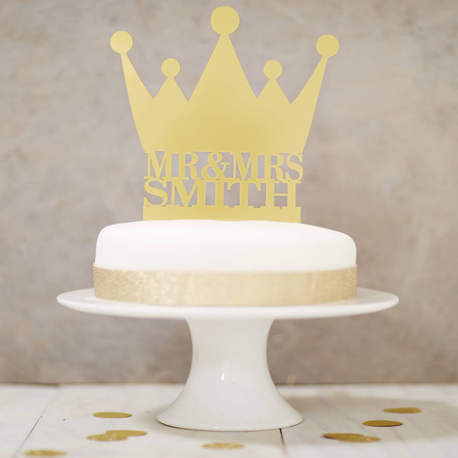 Personalised Crown Wedding Cake Topper – Sophia Victoria Joy