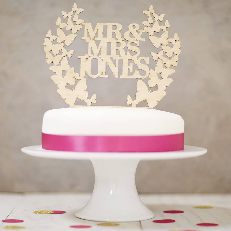 Personalised Wooden Butterfly Wreath Cake Topper