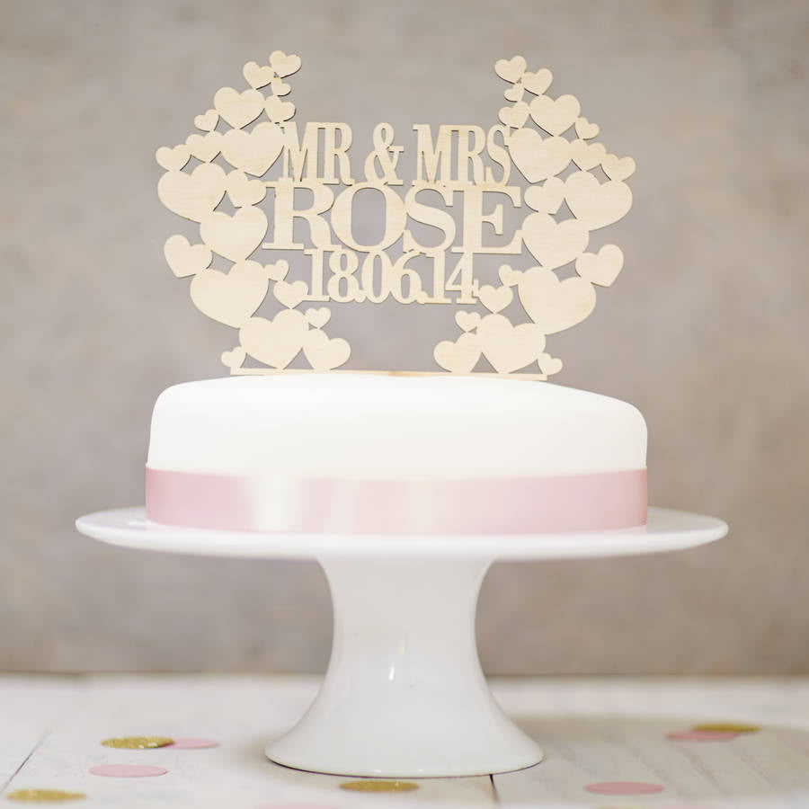 Personalised Wooden Heart Wreath Cake Topper