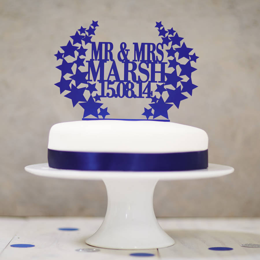 Personalised Star Wreath Wedding Cake Topper
