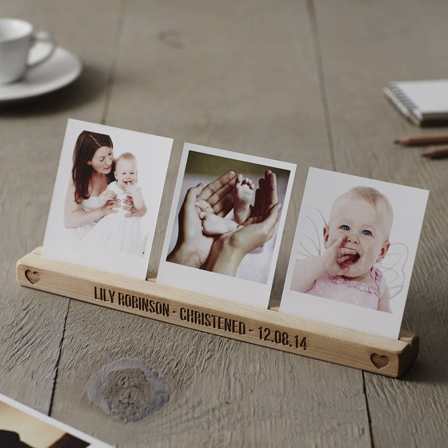 Personalised Christening Heart Photo Block