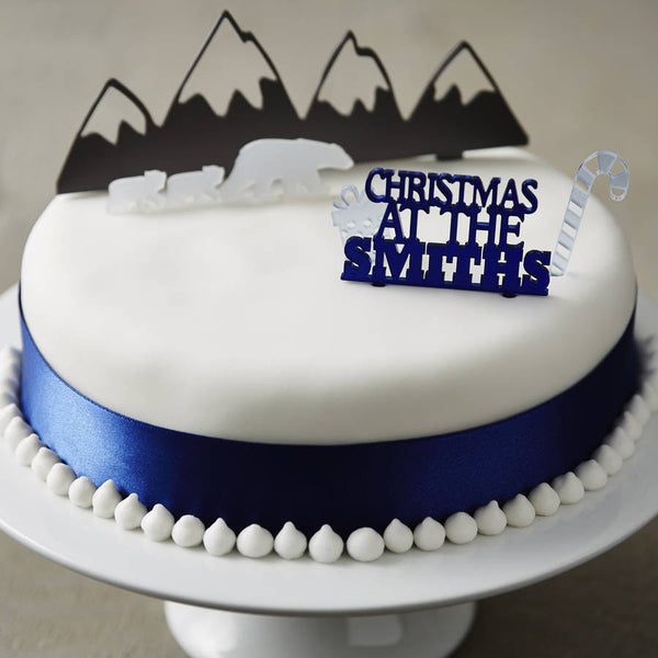 Personalised Arctic Christmas Cake Topper Set