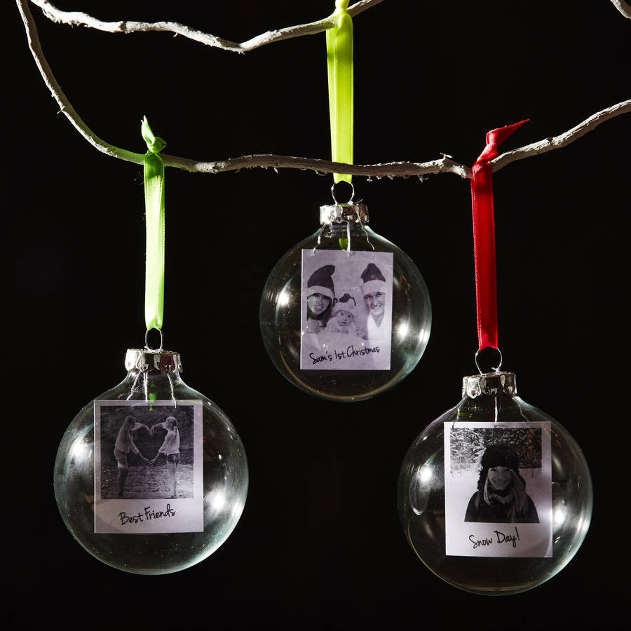 Neon Polaroid Glass Personalised Christmas Bauble