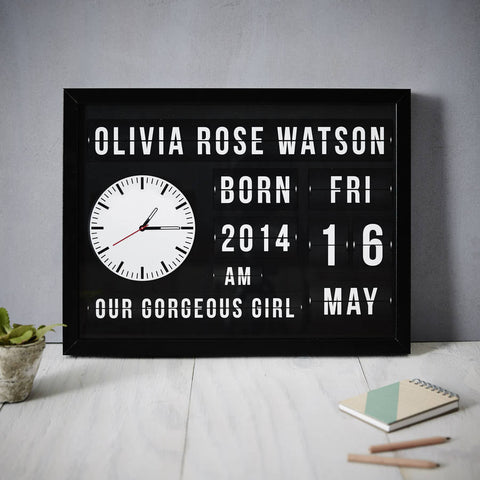 Flip Clock Personalised Baby Print