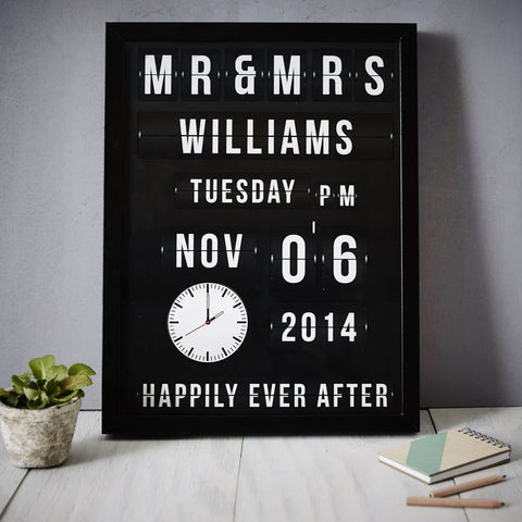 Flip Clock Personalised Wedding Print