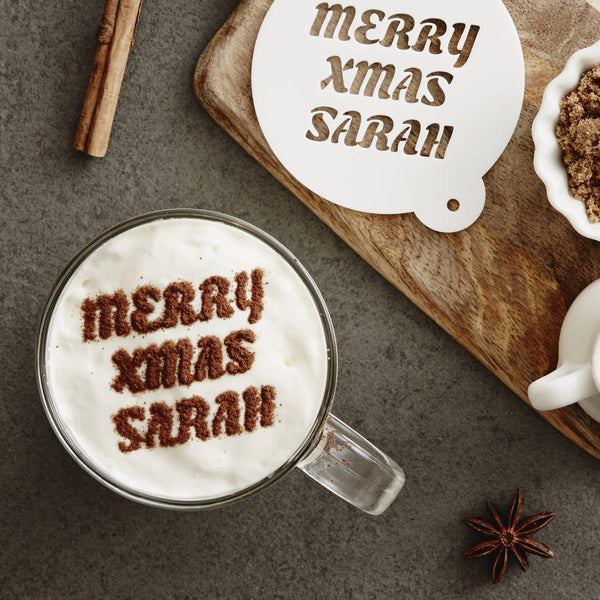 Personalised Christmas Message Hot Chocolate Stencil