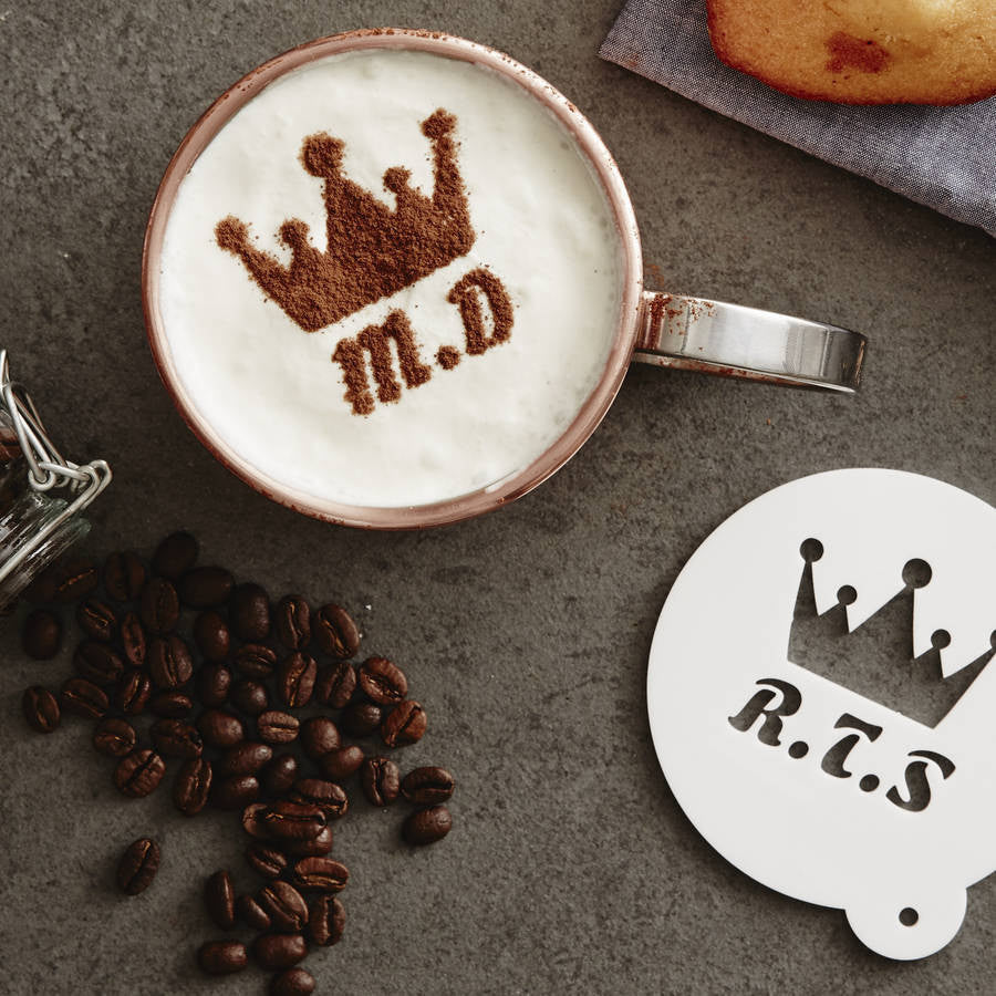 Personalised Crown Hot Chocolate Stencil For Him
