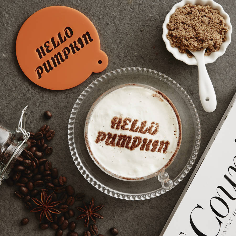 Personalised 'Hello Pumpkin' Latte Stencil
