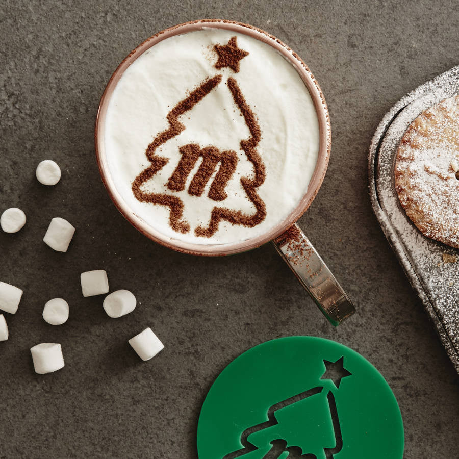 Personalised Christmas Tree Hot Chocolate Stencil