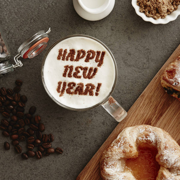 Personalised 'Happy New Year' Hot Chocolate Stencil