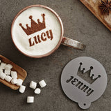 Personalised Crown Hot Chocolate Stencil For Her