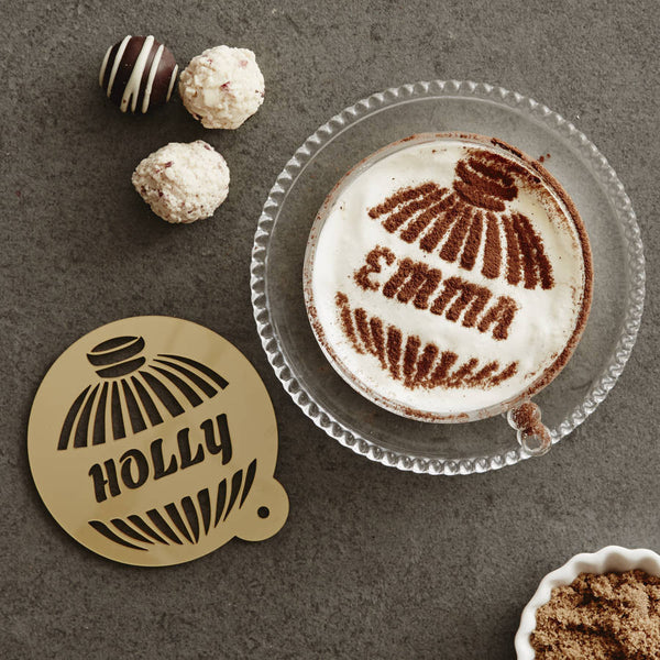 Personalised Bauble Hot Chocolate Stencil