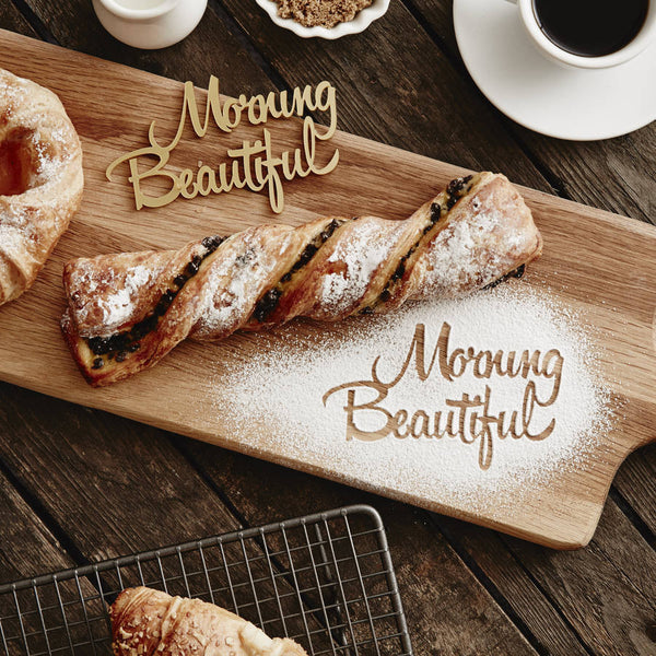 Personalised 'Morning Beautiful' Baking Stencil