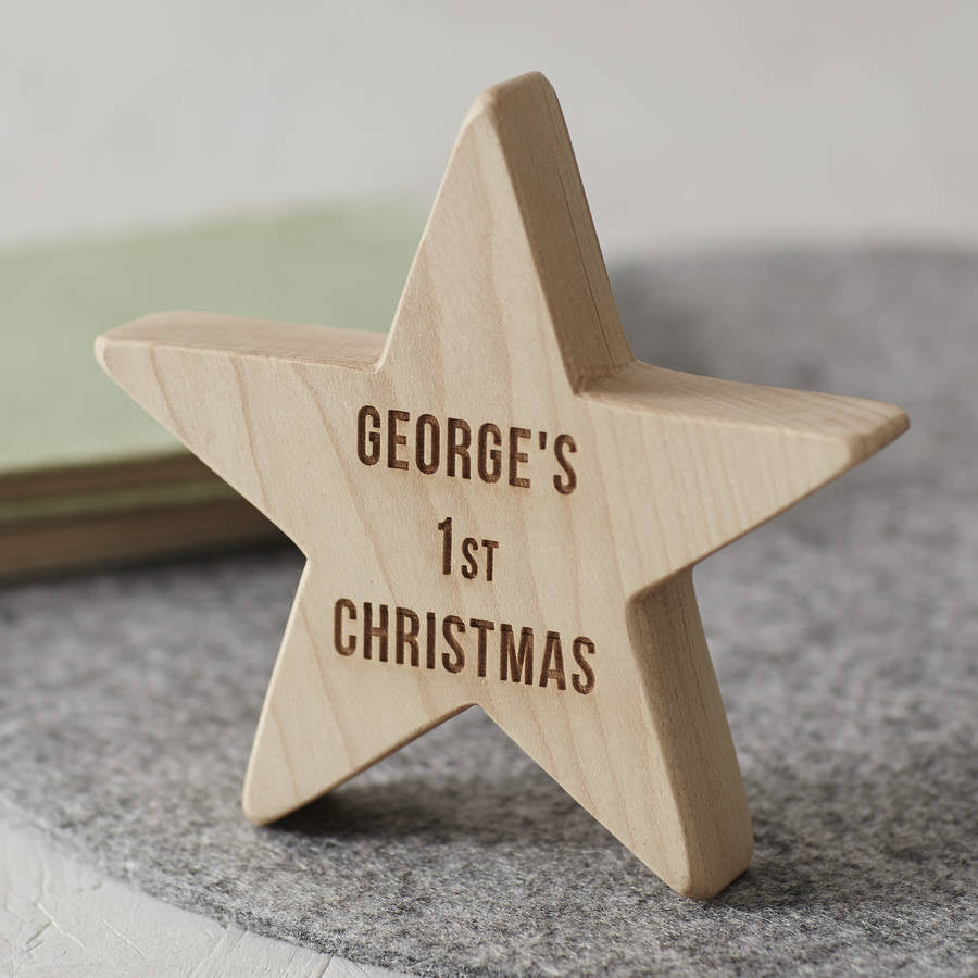Personalised Baby's First Christmas Wooden Star